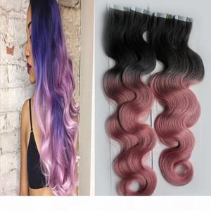 Rey Ombre Hair Extensions Body Wave 300G 120pcs 로트 # 1B 핑크 옴 브브 머리 전체 머리