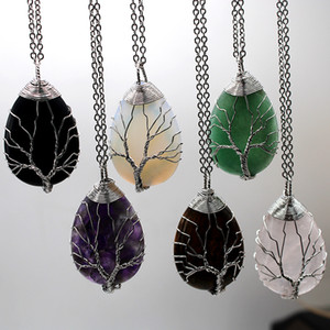 Natural Stone Pendant Necklace Tree Of Life Healing Crystal Manual Colour Chakras Fashion Jewelry Woman Necklaces 9 59lg K2