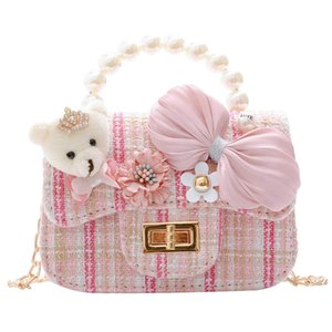 Fashion pearl girls handbags princess flower kids handbags bowknot girls bags kids bags chain girls shoulder bags messenger bag B3433