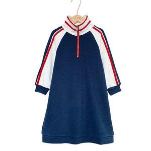 6y إلى 16y الياقة المدورة الفتيات اللباس الخريف جديد 2020 المرقعة الأطفال الرياضة اللباس طفل ملابس الاطفال البلوز اللباس، # 5628 Q0113