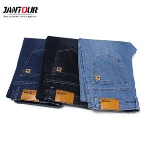Jantour Classic Style Brand Jeans Men Business Casual Stretch Loose Denim Pants Light Blue Black Trousers Male Big Size 42 44 46 J1208