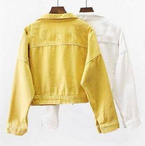 Jaquetas femininas cintura alta denim jaqueta feminina outono selvagem short harajuku estilo estudante manga longa jaqueta solta xl1