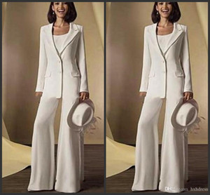 2020 New Satin Long Sleeves Mother Of the Bride Pant Suits with jacket Mother Dresses Custom Made White Formal Outfits