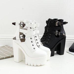 Hot Sale NIUFUNI Ankle Strap 2 Colors Women's Boots Fashion Platform Martin Boots Buckle Zipper Western Boots Women Shoes Bottes femme