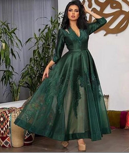 2021 Arabic Emerald Green Lace Evening Dresses Full Sleeves Appliques Ankle Length Elegant Prom Gowns V Neck Cocktail Party Dress AL7849