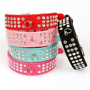 (6 Colors Mixed) Brand New suede Leather Dog Collars 3 Rows Rhinestone Dog collar diamante Cute Pet Collars 100% Quality 4 Sizes available