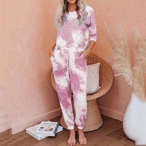 2021 Autumn Winter Loungewear Women Pyjama Set Tie-dye Home Wear Lounge Set Homewear Women Long Sleeve Lounge Wear Sleepwear