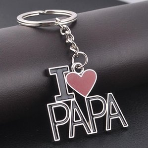 Letter I LOVE MOM PAPA keychains metal key rings mother's day gift souvenir key chain personlized heart key holder Car Accessories