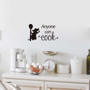 Kitchen Mouse Anyone Can Cook Wall sticker For Kitchen Background Home Decoration Mural Art Removable Wallpaper Decals Stickers