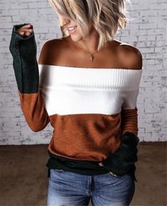 Мода Дизайнерские женские обшитую панелями Свитера Разрез шеи дамы с длинным рукавом Теплый Contrast женщин цвета Новое платье