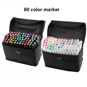 새로운 자리 80 색 터치 양방향 마커 멀티 컬러 학생 인테리어 디자인 풍경 애니메이션 그림 수채화 펜 아트 마커