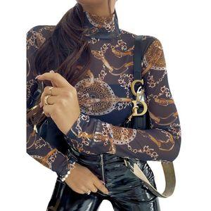 Vintage Chain Printed T Shirts Women Sexy Mesh Transparent Tops Long Sleeve Slim Fit Tee Shirts Streetwear Turtleneck Tee D30