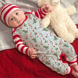 New Baby Jumpsuits Cotton Long Sleeve Christmas Tree Printed Sleeve Stripe Stitching Cute One-piece Romper With Hat Lababy40
