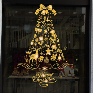 Shining Gold Christmas Tree Window Sticker Santa Ride Xmas Garland Wall Decals New Year Showcase Stickers Snowman Home Decor
