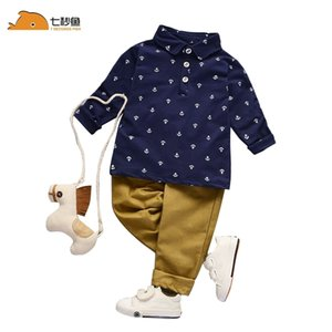 Neugeborene Babykleidung Weiß Blau Hemd + Hosen (Hosen) 2 Stück Outfits Kinder Herbst Spring Sets 7 Sekunden Fischmarke 201124