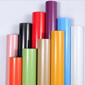 Tapeten selbstklebende Massivfarbe Perllegierende Tapete Glossy Wasserdichte Blumendruck Wallpaper für Arbeitsplatz Kabinett GWB3788