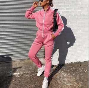 2020 Autumn winter new spot Wish Cross-border European and American women's casual fashion pure color sports two-piece set