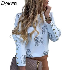 Letter Printed Long Sleeve Blouse Women O-neck Metal Button Casual Shirt Autumn Plus Size Elegant Tops And Blouses