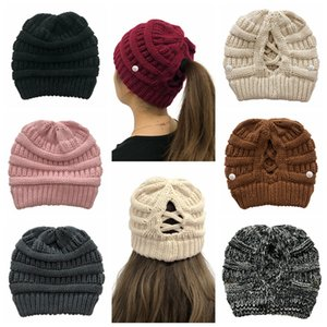 Women Knitted Cap Removable Button Criss Cross Ponytail Beanie Woolen Hat Adult Outdoor Ski Caps Winter Warm Casual Knitting Hats LJJP669
