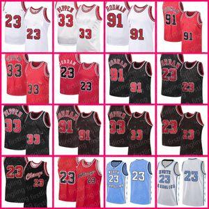 23 Chicagos Jersey 33 Scottie Pippen Jerseys Dennis Rodman Zach 8 Lavine Retro Basquete Mens MJ Vermelho Branco Tamanho Branco S-XXL Carolina do Norte