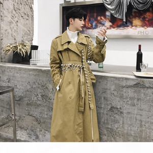 2019 New Irregular Drawstring Long Trench Coat Men Spring Autumn Casual Loose Coat Mens Lace Up Patchwork Trench DS50765