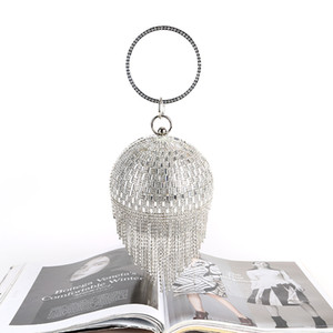 Ladies Ball Pearls Bag Handbags Diamond Tassel Banquet Clutch Hand-made Party wedding Evening Dinner Bag Acrylic