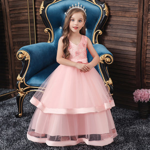 Girl Dress For Evening Prom Party Costume Teenage Girls Kids Clothes Wedding Birthday Gown Girl Red Clothes New V484