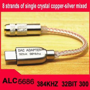 Type-C To 3.5 Jack ALC5686 chip HiFi Digital Audio HIFI Decoding DAC Sound Card Earphone Audio cable For Huawei mate20 30pro