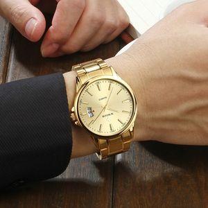 Relogios Masculino Wwoor Mens Watch Top Luxury Gold Quartz Calandar 시계 남성 골든 스테인레스 스틸 스포츠 시계 Erkek Kol Saati 201120