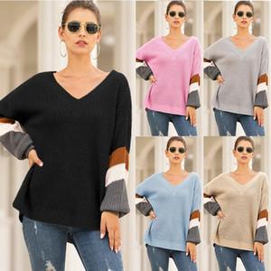 Nouveau chandail Femmes Fall / hiver Selling Chaud Selling Hearts V-Col V-Col Lanterne Sleeve Couleur Couleur Correspondant Tricoté Vestido Casual