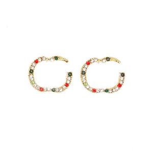 Orecchini alfabeto lucido Diamante Brand Letters Designer Orecchini per borchie Lettere di moda Orecchini Orecchini Donna Orecchino Accessori per gioielli