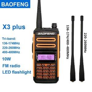 Walkie Talkie 2021 Baofeng X3 Plus 10W Tri-Band 220-260MHz 아마추어 라디오 스캐너 VHF UHF 햄 CB 트랜시버 Woki Toki