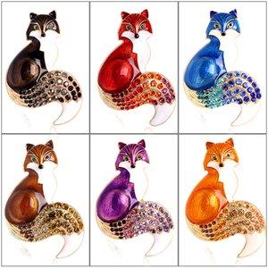 Kristal Sevimli Hayvan Fox Broş Pin Güzel Rhinestone Broşlar Pin Kadın Gömlek Yaka Dekorasyon Mücevherat Hediyeler