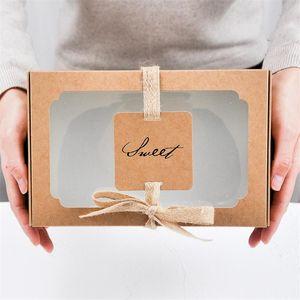 LBSISI Life 10PCS Sweet Kraft Paper Box с Wibdow День рождения Свадьба Подарочная упаковка Ударные коробки и Упаковка Выпечки Печенье Подготовка WMTQUJ
