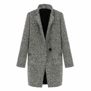 WeixinBuy 2016 Vintage Donne Autunno Primavera Cappotto lungo Parka Giacca Trench Wool Blends Rispas Outwear Zt11