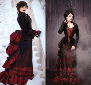 Vintage Gothic Black And Red Prom Dresses Long Sleeves Ruffles Ruched Corset Formal Evening Gowns Medieval Victorian Special Occasion Dress
