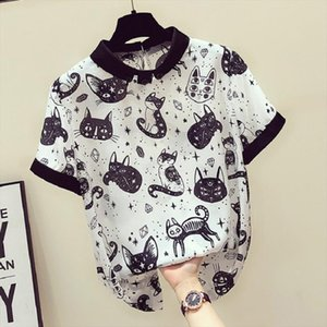 COYOUNG Store Cat Print Summer New Slim Top Vintage White Black Chiffon Shirt Women Blouses Casual Short Sleeve White Tops