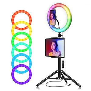 RGB Ringleuchte 10 '' mit Telefonstativ stehen Kamera Fotografie Makeup Video Live Studio Selfie LED-Lichttablethalter für iPad1