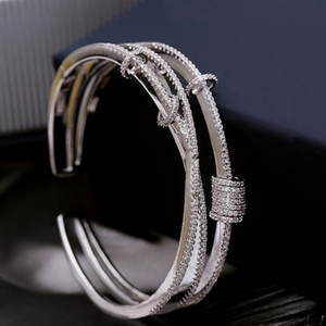Silver Micro Inlaid Zircon Multilayer Smart Ring Bracelet Opening Design Screw Cap Opening Simple and Stylish Bangle
