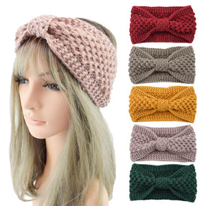 Winter Keep Warm Bandbing Headband Fios de lã Mulheres Feminino Cabelo Esportes Headwear Bowknot Ioga Head Banda Festa Favor T9i00867