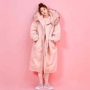 New Fashionable Warm Cotton Hooded Parkas Coat Winter Jacket Women Adjustable Waist Big Fur Collar Jacket Thick Outwear