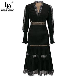 LD Linda Della Fashion Designer Autunno Elegante Black Dresses Donne Donne Collo V-Collo V-Collo di Lusso Patchwork Ricamo Vintage Midi Dress