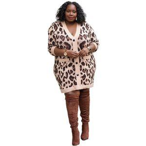 Damen Designer Pullover Kleid Herbst Winter Langarm Leopard Druck Kontrast Farbe Womens Beiläufige Strickpullover