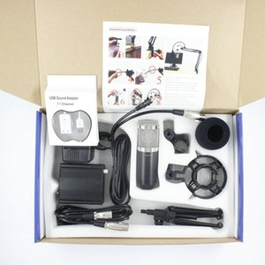 Professional BM800 BM-800 Audio 3.5mm Condenser Wired Microphone with Pop Filter Tripod for Computer PC Video Recording