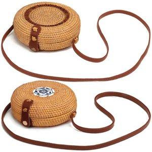 Women Girl Shoulder Bag Woven Rattan Straw Round Crossbody Handbag Messenger Satchel Beach Summer Bags