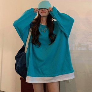 Fake two piece splicing round neck Pullover Sweater women's autumn winter 2020 new plush thickened loose Korean long sleeve top