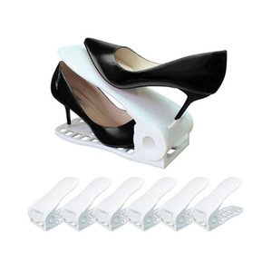 Shoe Slots Space Saver, Adjustable Shoe Slotz Organizer, Holders for Sandals Heels Casual Shoes Sneakers, 6 Pieces Set (Whi
