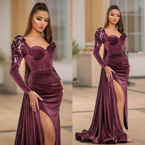 Sparkly Velvet Mermaid Evening Dresses Scoop Neck Long Sleeve Prom Gowns Plus Size Sexy Split Formal Party Dress