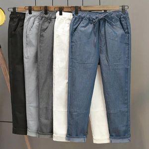 CK527 Casual Cotton Linen Elastic Waist Solid Calf Length Pants Women Pencil Harem Pants Summer New Pockets Womens Trousers Fall