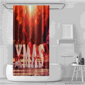 High-quality Christmas and Santa Printing shower curtains For bathroom decoration with hooks and waterproof